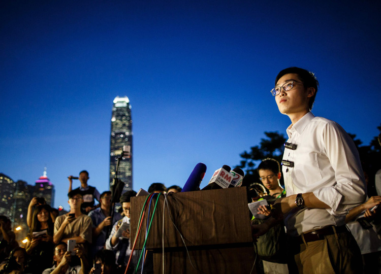 Andy Chan, leader of the pro-independence Hong Kong National Party, gives a press conference in Hong Kong in this 2016 photo.