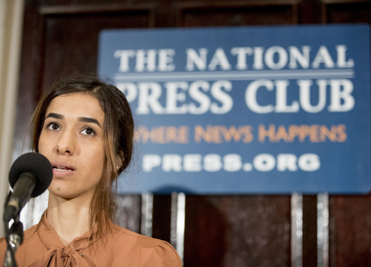 Nadia Murad, co-winner of the 2018 Nobel Peace Prize, speaks at a news conference at the National Press Club on Oct. 8 in Washington.