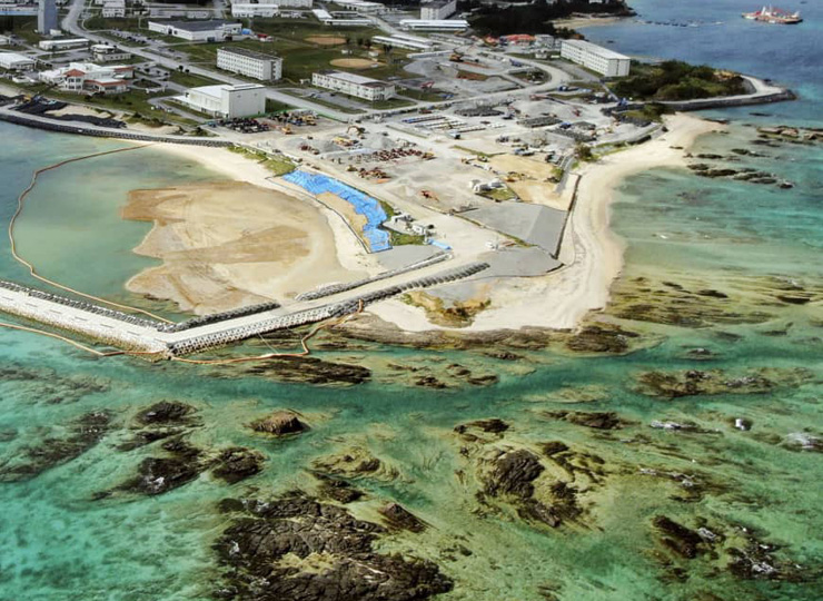 A part of the Henoko coastal area of Nago in Okinawa Prefecture, where U.S. Marine Corps Air Station Futenma is set to be relocated.