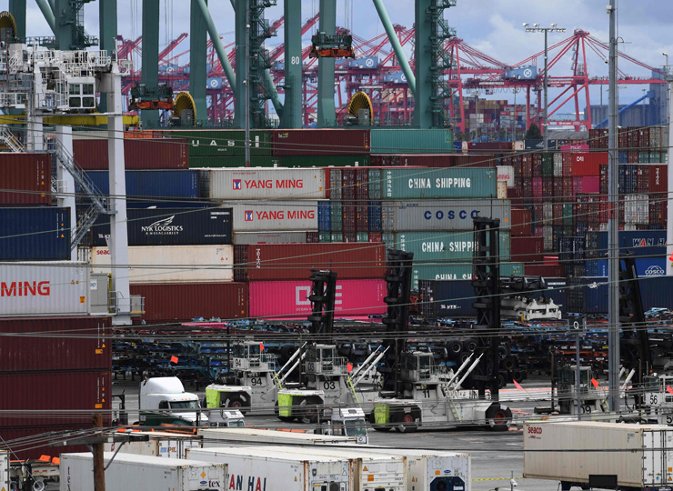 Unloaded containers from Asia are seen at the main port terminal in Long Beach, California, on May 10.