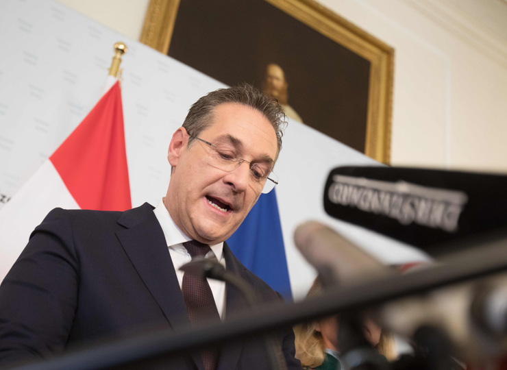 Austrian Vice Chancellor and chairman of the Freedom Party Heinz-Christian Strache speaks in Vienna on May 18 after the scandal broke.