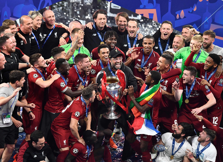 Liverpool manager Jurgen Klopp (center) celebrates after his players won the UEFA Champions League final at the Wanda Metropolitan Stadium in Madrid on June 1.