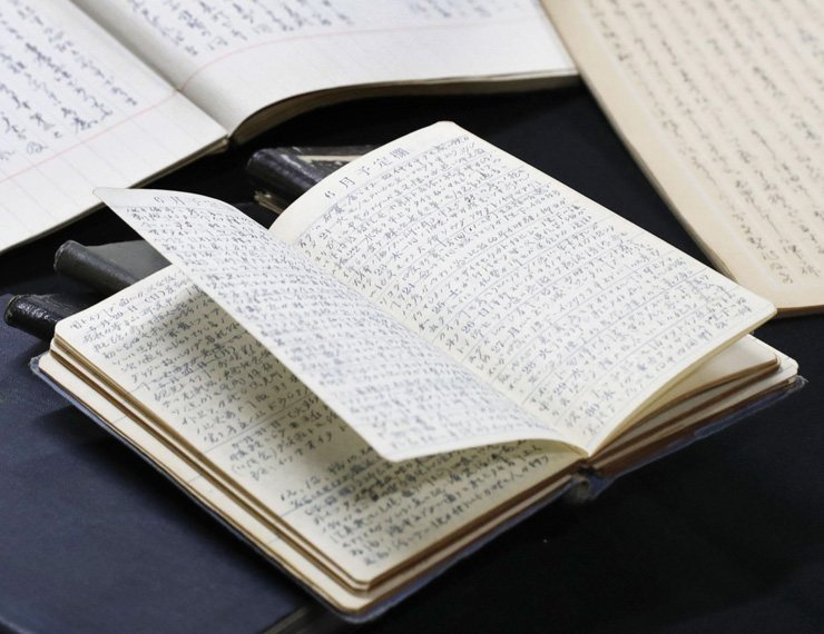 Notebooks in which Michiji Tajima kept records detailing his exchanges with Emperor Hirohito, known posthumously as Emperor Showa.
