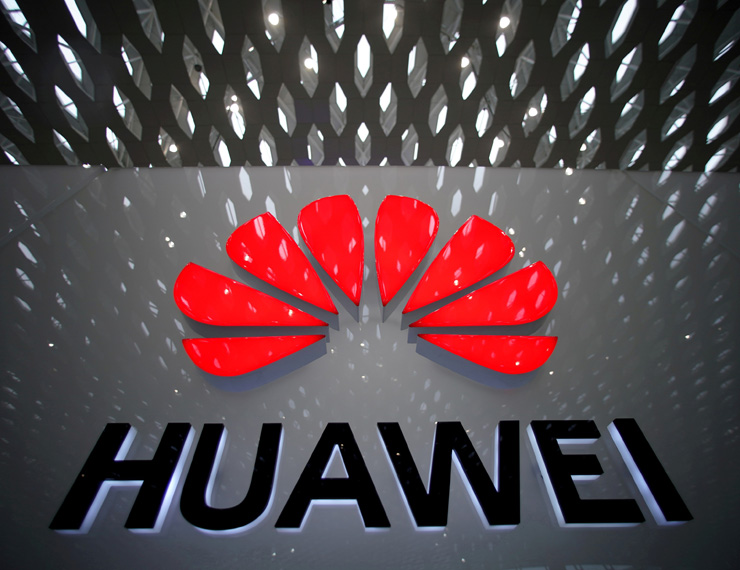 The Huawei company logo is pictured at Shenzhen International Airport in Shenzhen, Guangdong province, China, on July 22.