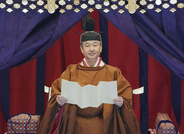 Emperor Naruhito proclaims his ascension to the chrysanthemum throne at the Imperial Palace in Tokyo on Oct. 22.