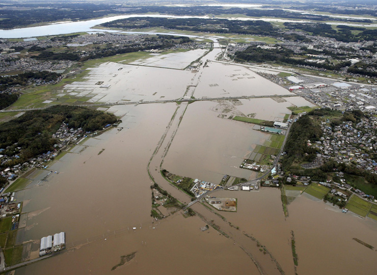 The flood-hit city of Sakura, Chiba Prefecture, is seen on Oct. 26 after record rain prompted rivers to overflow in a number of areas in the prefecture.