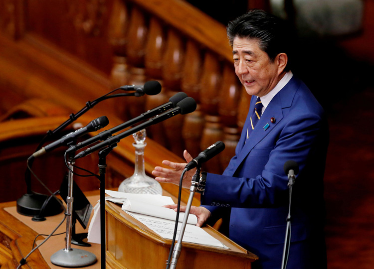 Prime Minister Shinzo Abe gives a policy speech at the start of the regular session of the Diet in Tokyo on Jan. 20.