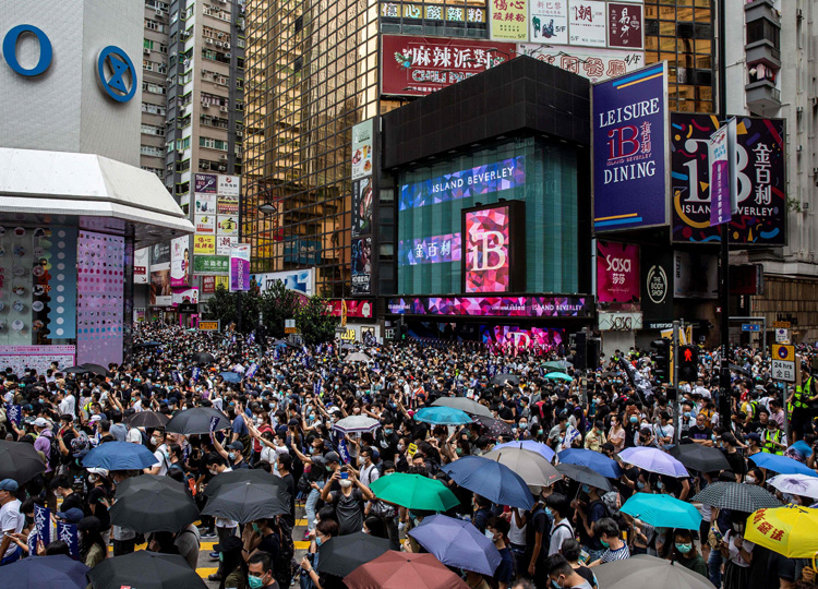 Pro-democracy protesters gather in Hong Kong's Causeway Bay district on May 24, ahead of planned protests against a proposal to enact new security legislation.