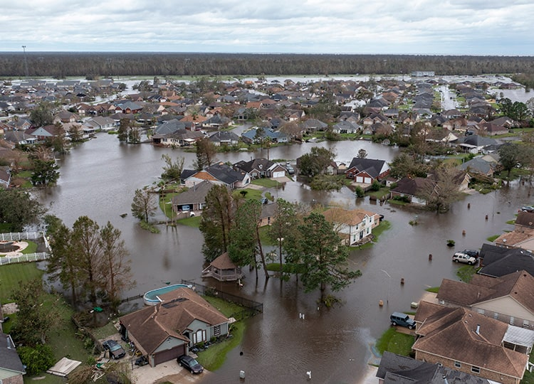 Flooded streets and homes are shown in the Spring Meadow subdivision of LaPlace, Louisiana, after Hurricane Ida moved through Aug. 30.