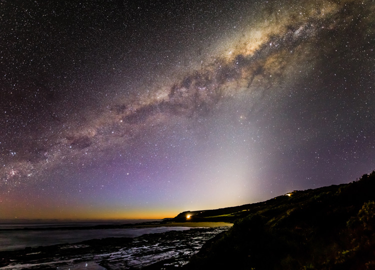 Starry skies over Apollo Bay on Australia's Great Ocean Road scenic route.