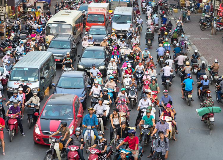 The congested streets of Hanoi during rush hour.