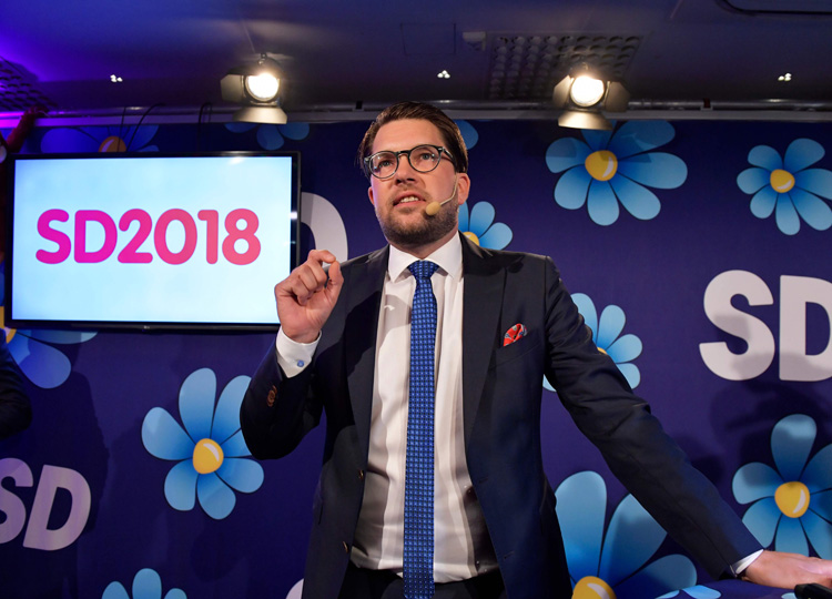 Jimmie Akesson of the far-right Sweden Democrats speaks at their election party in Stockholm on Sept. 9.