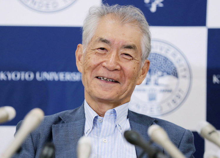 Tasuku Honjo, a professor at Kyoto University, speaks during a news conference Oct. 1 in Kyoto after the Nobel Prize was announced.