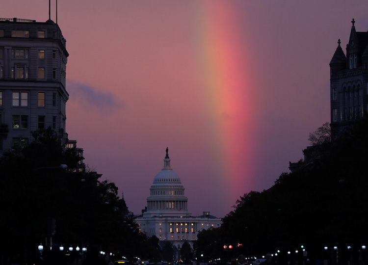 A rainbow forms over the U.S. Capitol as evening sets on midterm Election Day in Washington, D.C., on Nov. 6.