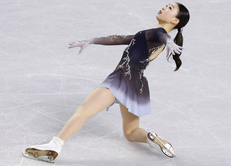 Rika Kihira performs her free skate program during the Grand Prix Final on Dec. 8 in Vancouver, British Columbia.