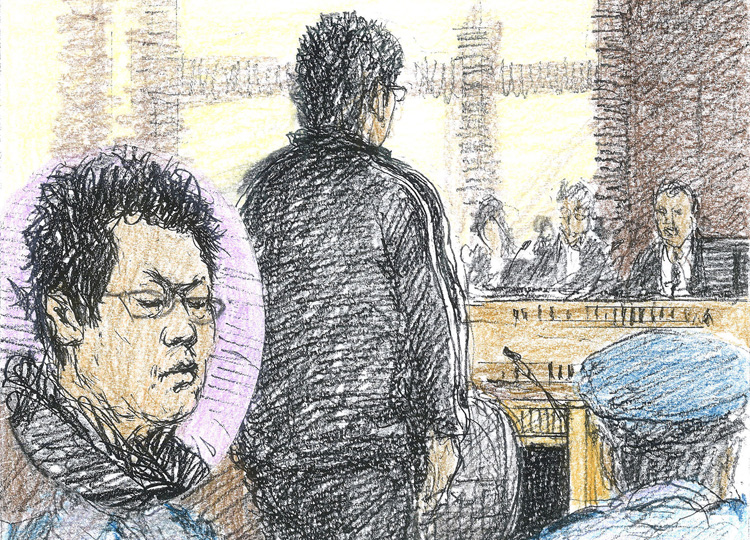 Kazuho Ishibashi is depicted in a courtroom illustration listening to his sentence on Dec. 14.