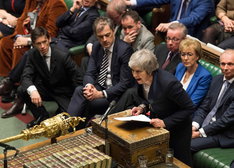Britain's Prime Minister Theresa May makes a statement in the House of Commons in London on Jan. 15 after MPs rejected the government's Brexit deal.
