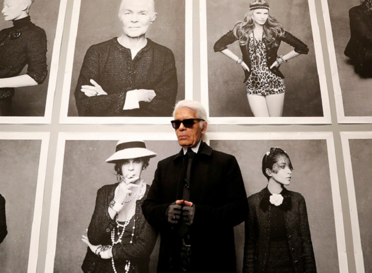 "Chanel's creative director Karl Lagerfeld poses before the opening of his photo exhibition ""Little Black Jacket"" at the Grand Palais in Paris on Nov. 8, 2012.REUTERS"