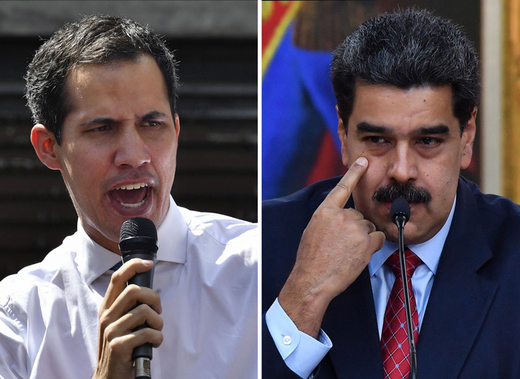 Venezuela's National Assembly head Juan Guaido (left) on Jan. 21, and Venezuelan President Nicolas Maduro on Jan. 25.