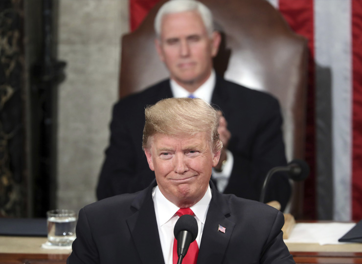U.S. President Donald Trump delivers his State of the Union address to a joint session of Congress on Capitol Hill in Washington on Feb. 5, as Vice President Mike Pence looks on.