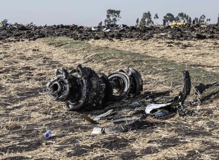 This picture taken on March 11 shows debris of the crashed airplane of Ethiopia Airlines near Bishoftu, a town some 60 km southeast of Addis Ababa.