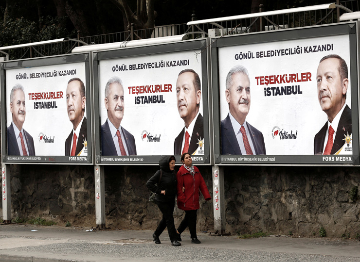 "Billboards show pictures of Turkish President Recep Tayyip Erdogan (right) and mayoral candidate Binali Yildirim in Istanbul on April 1. The billboards read ""Thank you Istanbul."""