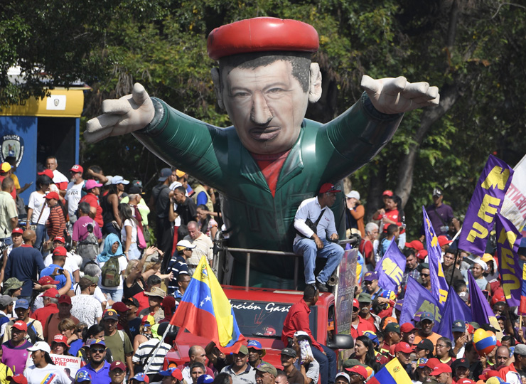 Supporters of Venezuelan President Nicolas Maduro march during a pro-government May Day rally in Caracas on May 1.