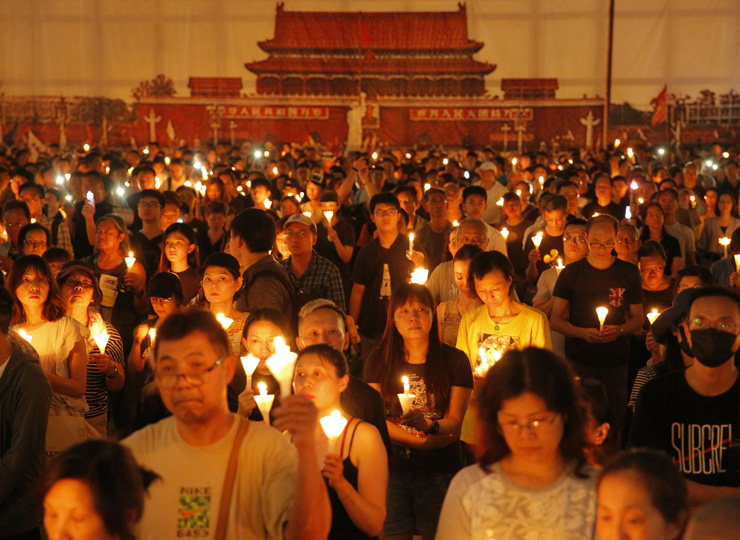 Thousands of people attend a candlelight vigil for victims of the Tiananmen crackdown at Victoria Park in Hong Kong on June 4. Hong Kong is the only region under Beijing's jurisdiction that holds significant public commemorations of the 1989 crackdown and memorials for its victims.
