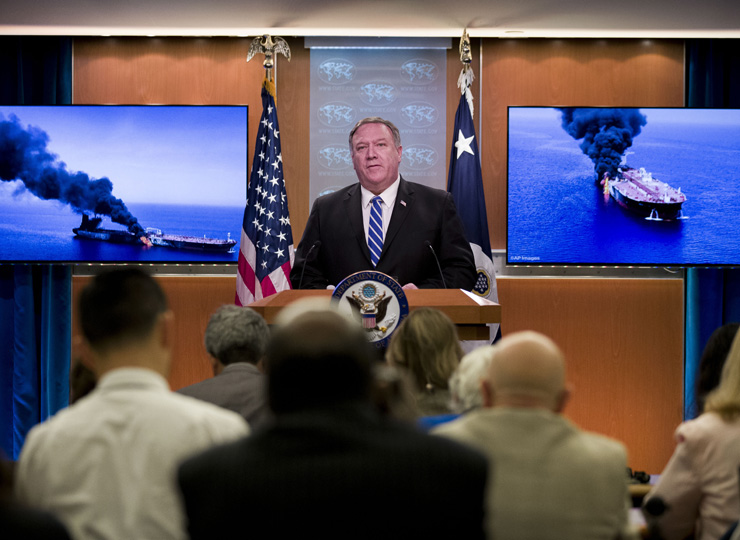 Secretary of State Mike Pompeo speaks at the State Department on June 13 in Washington.