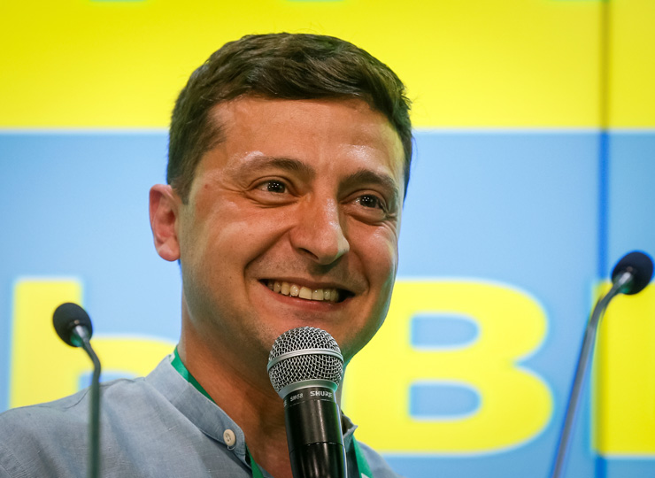 Ukrainian President Volodymyr Zelenskiy speaks at his party's headquarters in Kiev after a parliamentary election on July 21.
