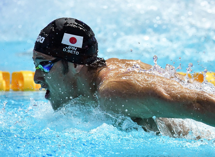 Daiya Seto competes in the final of the men's 400-meter individual medley event during this year's world championships in Gwangju, South Korea, on July 28.