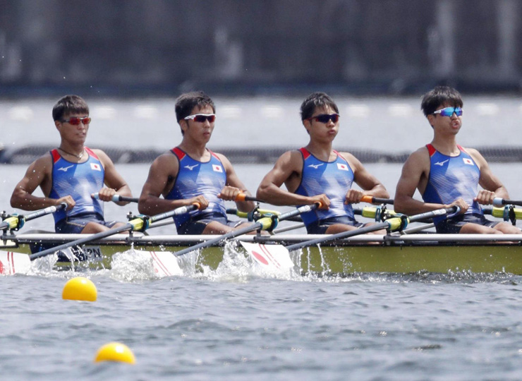 Japan's men's quad scull team competes in the 2019 World Rowing Junior Championships on Aug. 10 at Sea Forest Waterway in Tokyo.