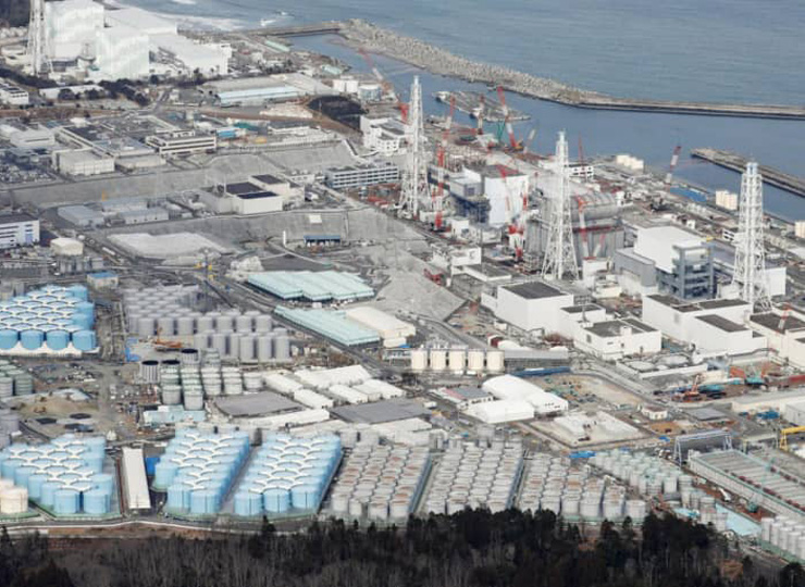 A massive number of tanks storing treated water at the Fukushima No. 1 plant are seen in February.