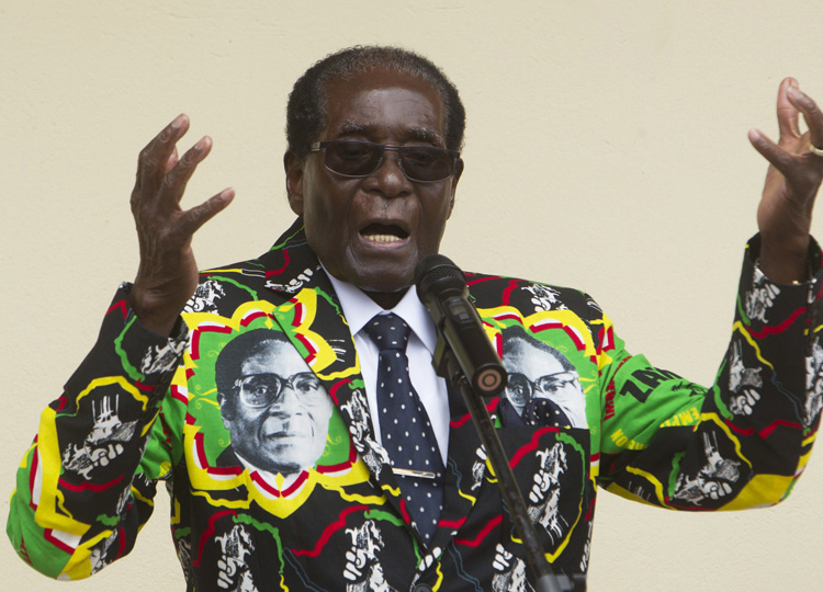 Zimbabwean President Robert Mugabe speaks in December 2016 at an event of his party, the Zimbabwe African National Union-Patriotic Front (ZANU-PF), in Masvingo, south of Harare.
