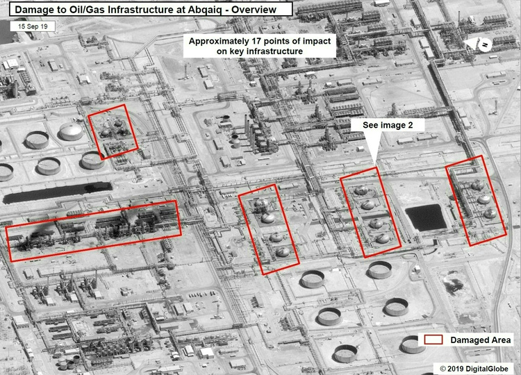 This satellite overview handout image shows damage to oil and gas infrastructure from drone attacks at Abqaig in Saudi Arabia on Sept. 14.