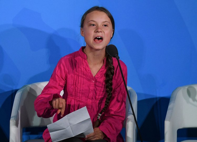 Youth climate activist Greta Thunberg speaks during the U.N. Climate Action Summit on Sept. 23 at United Nations Headquarters in New York City.