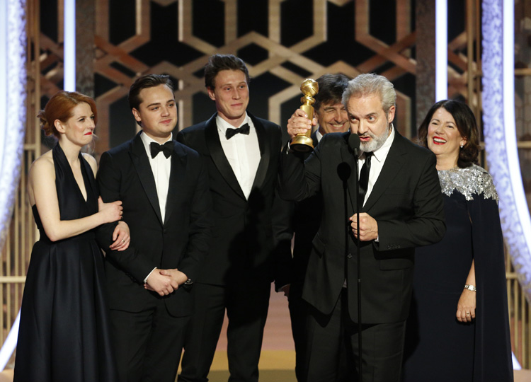 Sam Mendes accepts an award at the Golden Globe Awards in California on Jan. 5.