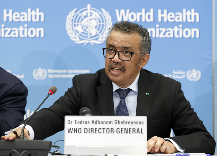 Director-General Tedros Adhanom Ghebreyesus gives the media an update on the COVID-19 virus outbreak in Geneva on Feb. 24.