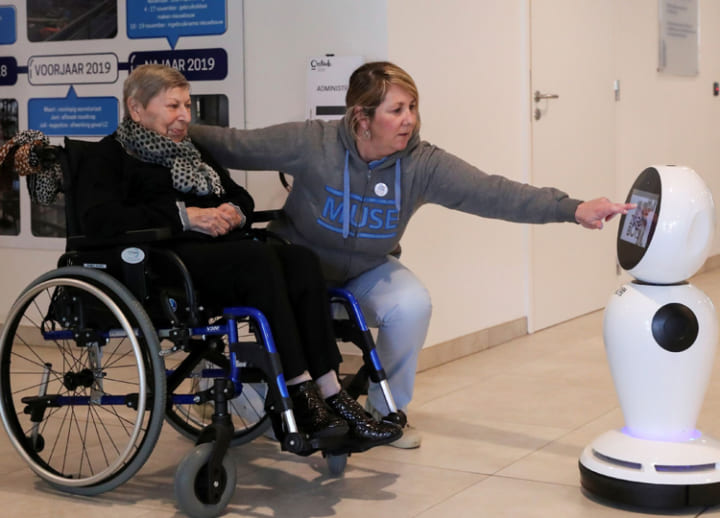 Belgian firm offers robots to help elderly keep in contact through outbreak