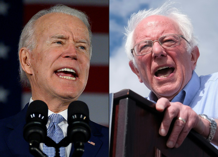 This combination of pictures shows Democratic presidential candidates (from left) former Vice President Joe Biden and Vermont Sen. Bernie Sanders.