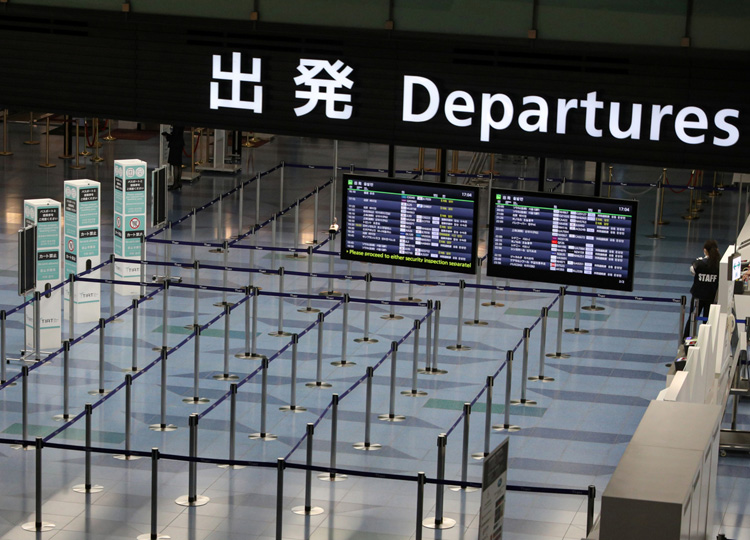 An empty departures gate is pictured at Haneda Airport in Tokyo on March 4.
