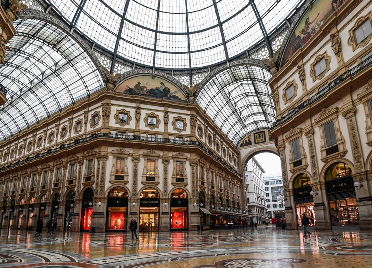 A general view shows the deserted Vittorio Emanuele II galleria shopping mall in Milan on March 10.