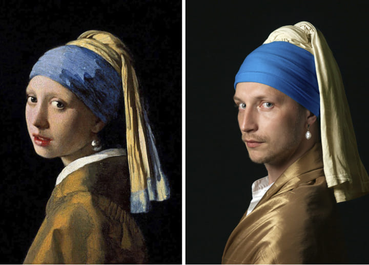 Russians stuck at home recreate famous artworks for Facebook group