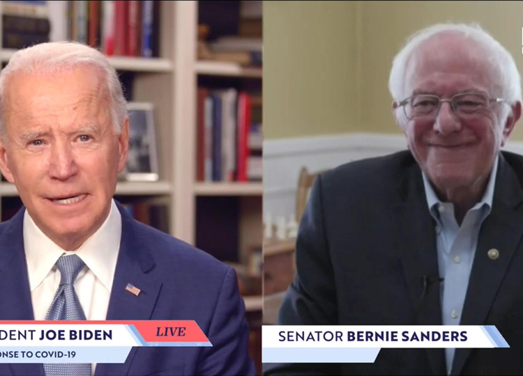 Former Vice President Joe Biden (left) speaks as Sen. Bernie Sanders listens during a virtual event seen on a computer screen on April 13.
