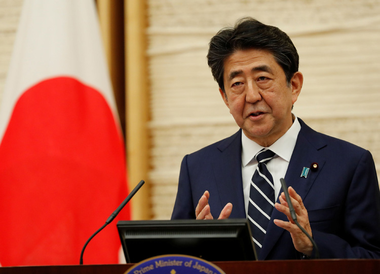 Prime Minister Shinzo Abe speaks at a news conference on Japan's response to the coronavirus pandemic in Tokyo on May 25.