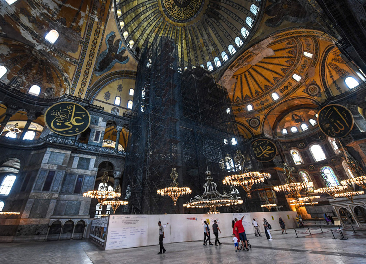 People visit the Hagia Sophia in Istanbul on July 10.