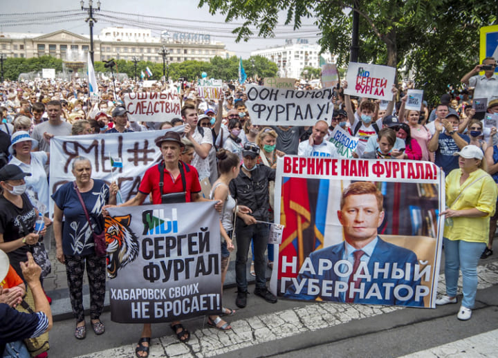 Tens of thousands march in Russia's Far East in support of detained governor
