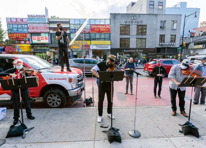 With concert halls shut, New York Philharmonic musicians take to the street