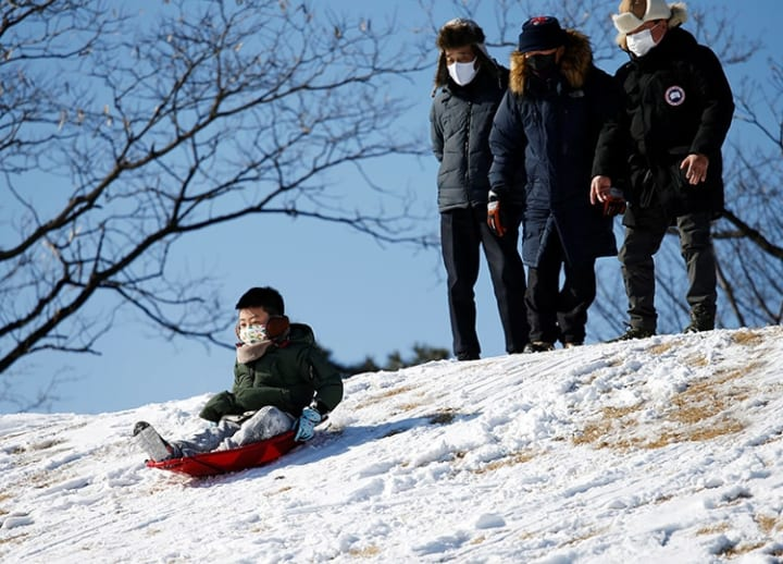 In South Korea, heavy snow and ski resort closures spark run on snow sledges
