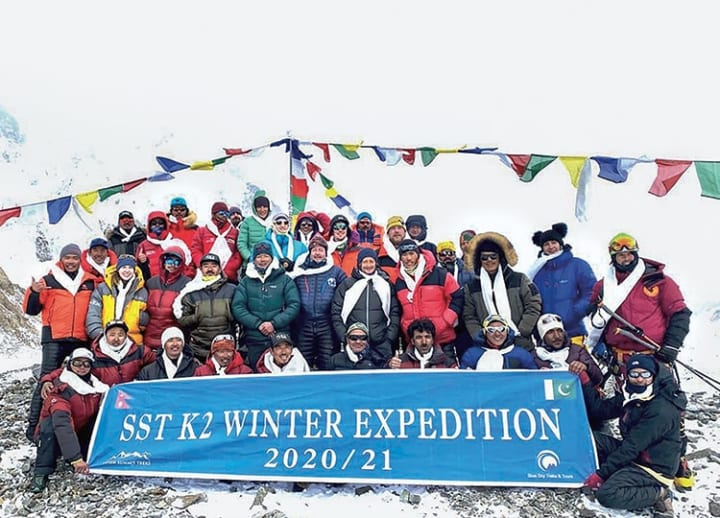 Nepali climbers make history with winter summit of K2